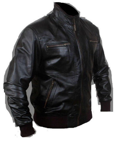 men's black bomber jacket with zipper detailing