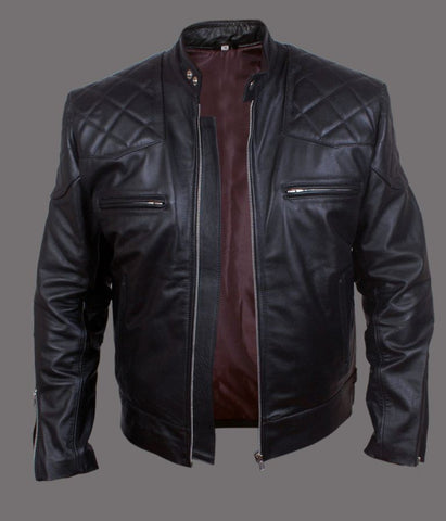 men's black biker jacket with quilted detail