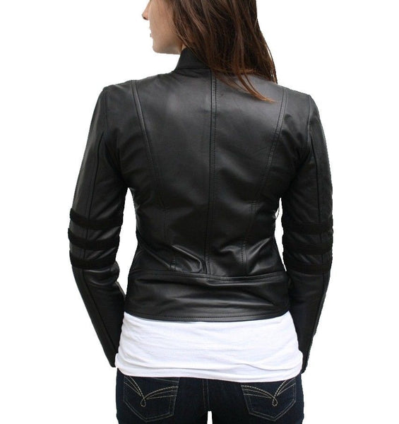 Women's collared black leather jacket with zip pockets