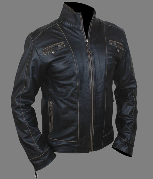 Men's black leather jacket with brown detailing