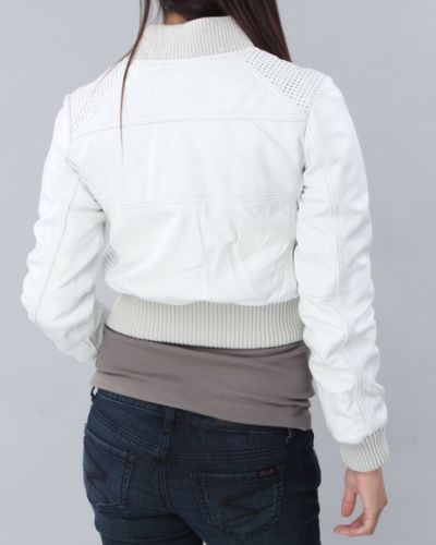 Women's Cropped white bomber jacket