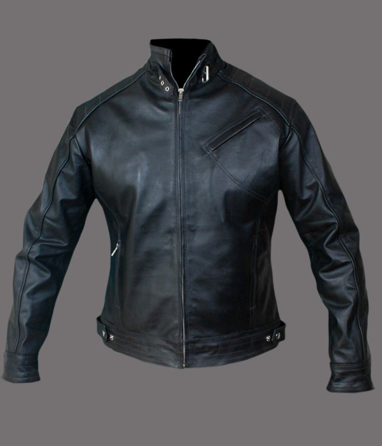 men's fitted black leather jacket