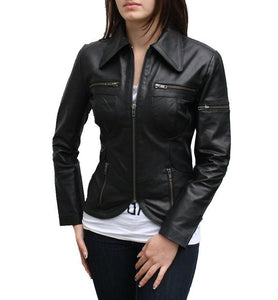 Women's Black leather jacket with flat collars