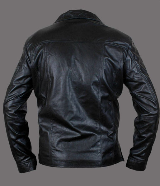 Men's black button-up leather jacket with notched collar