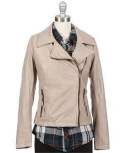 Women's Beige Leather Jacket With Notched Collar