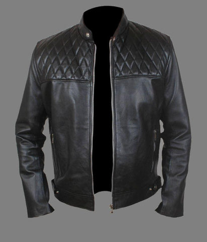 men's black biker jacket with quilted design