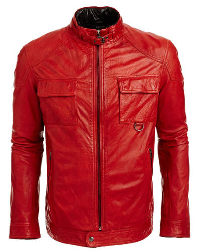 men's fitted red leather jacket with front pockets - Noora International