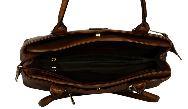 Women's dark brown leather handbag