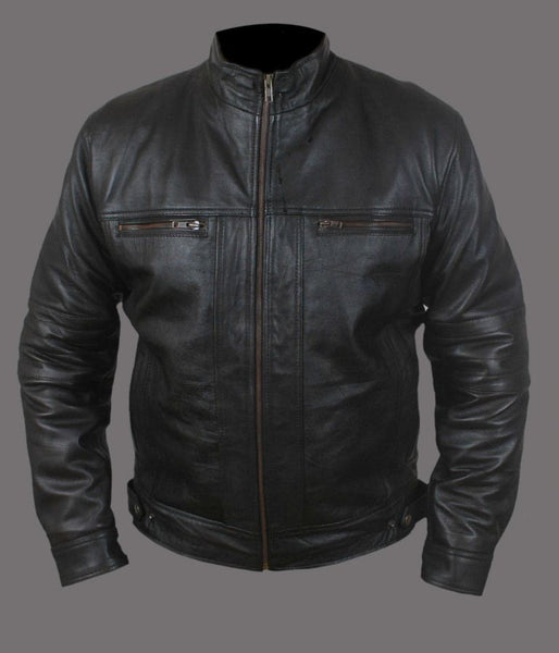 Men's black leather jacket with brown zippers