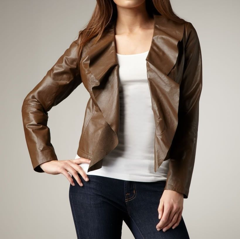 Women's Brown leather jacket with Butterfly collar