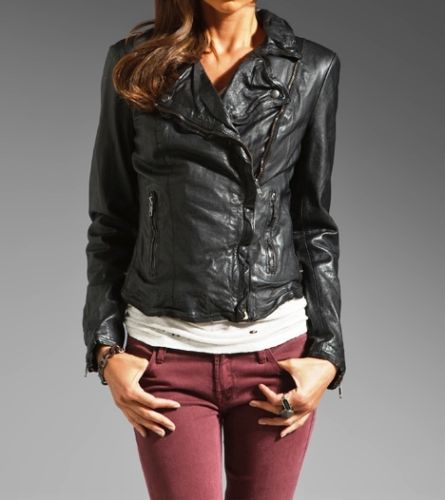 Women's fitted Black leather jacket with notched collar
