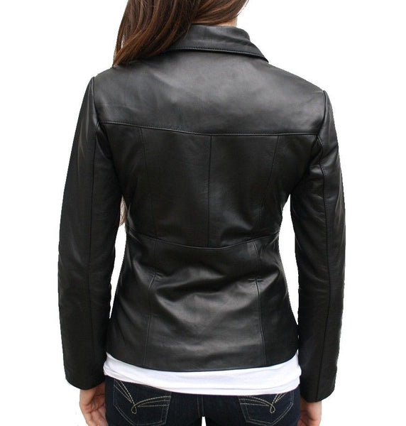 Women's black fitted leather jacket with winged collar
