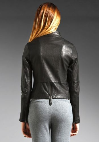 Women's space grey leather jacket