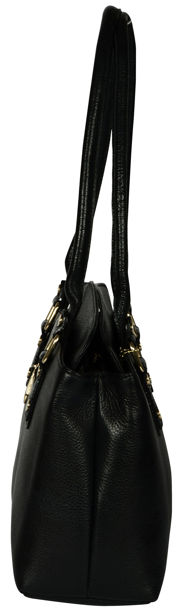 Women's solid black leather bag