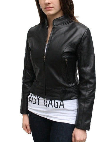 women's cropped and fitted black leather jacket