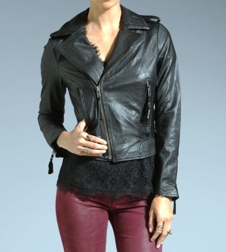 women's black quilted leather jacket with a side zipper