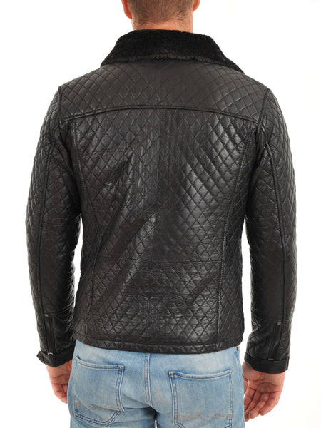 Men's quilted black leather jacket with fur notched collar