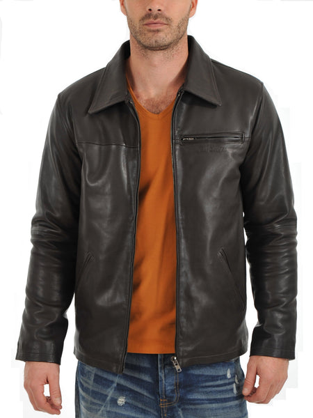 grey leather jacket with collar