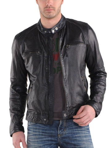 Men's Black Leather Jacket With Front Pockets