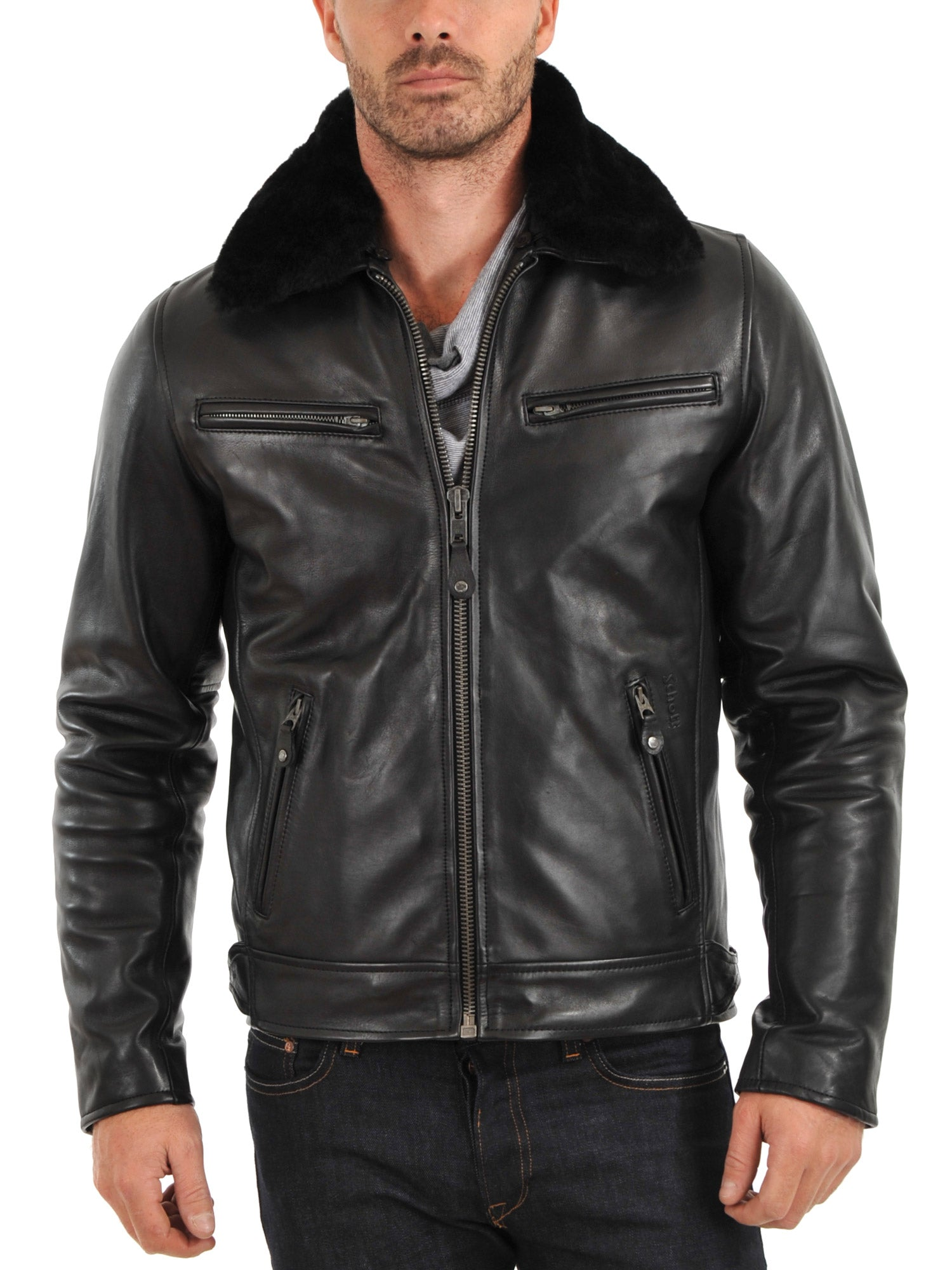 men's black leather jacket with zippers and fur collar