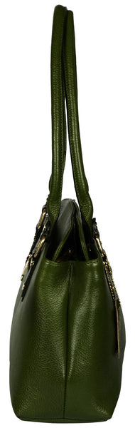 Women's military green leather bag