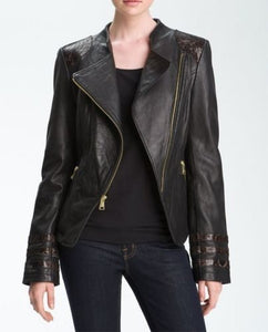 women's black-detailed leather jacket - Noora International