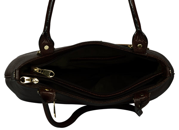 Women's dark brown satchel leather bag