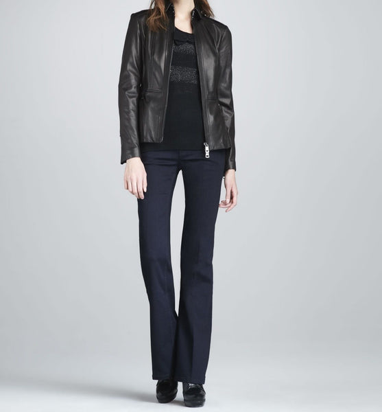 women's simple black peplum leather jacket