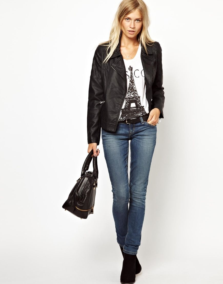 women's black notched collar leather jacket
