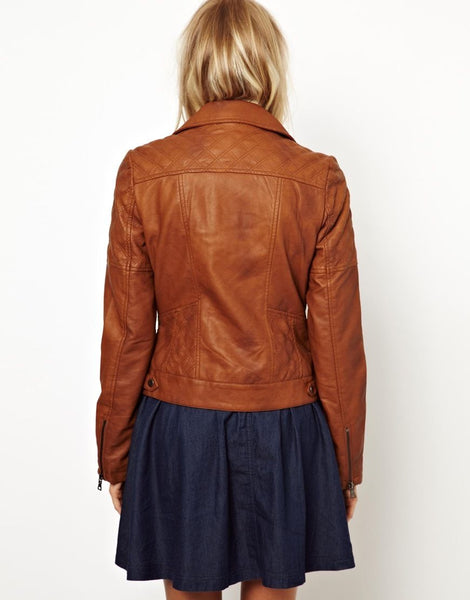 Women's fitted brick red leather jacket