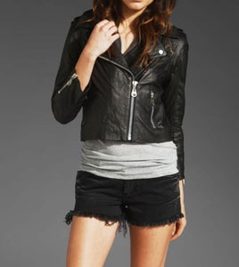 women's black cropped leather jacket with Hoody