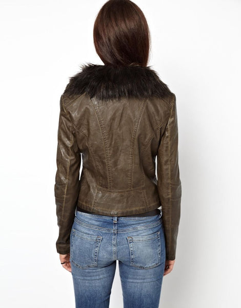 women's rustic brown leather jacket with fur collar