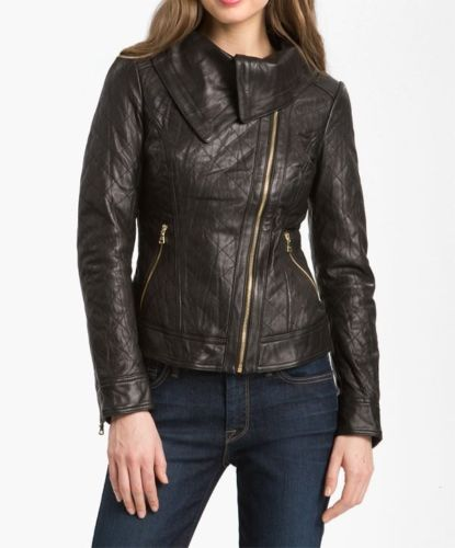 women's rustic brown roll collar leather jacket