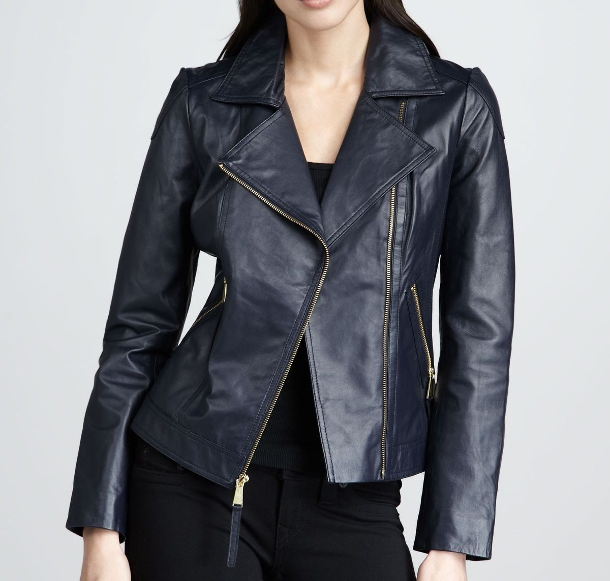 women's navy blue leather jacket