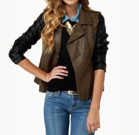 women's brown leather jacket with black sleeves