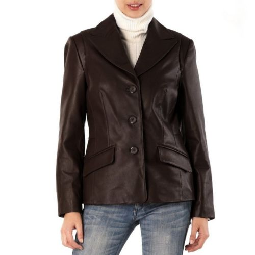 Women's Brown Blazer (Leather) Jacket - Noora International