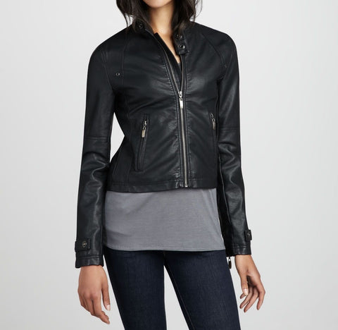 women's space grey cropped leather jacket