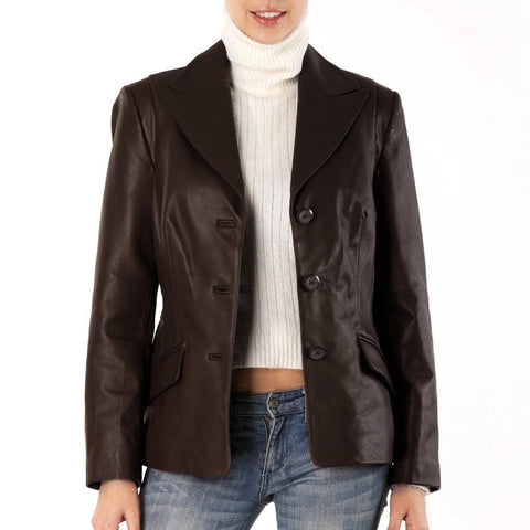 women's chocolate brown fitted blazer