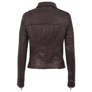 Women's burgundy textured Leather Jackets