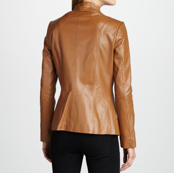 women's simple fitted bronze leather jacket