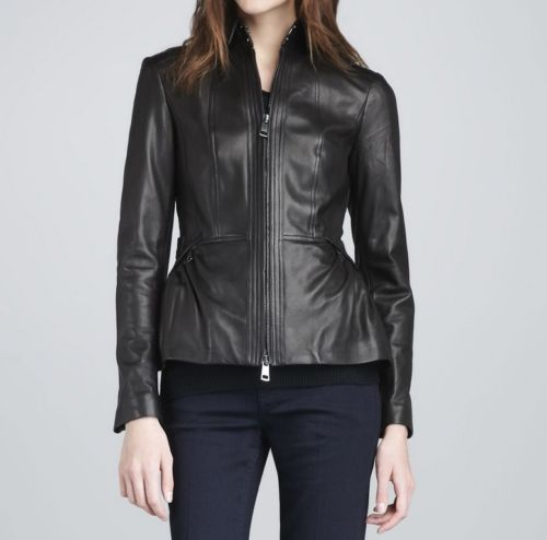 Women's Black Leather Jacket with a Cinched Back - Noora International