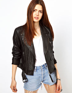 women's textured black motorcycle leather jacket