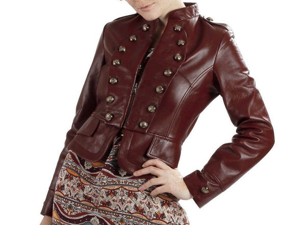 women's marron leather jacket with embellishment