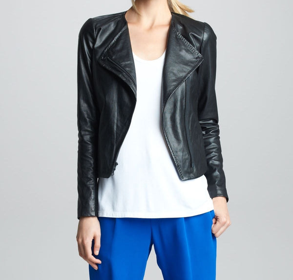 women's simple black leather jacket