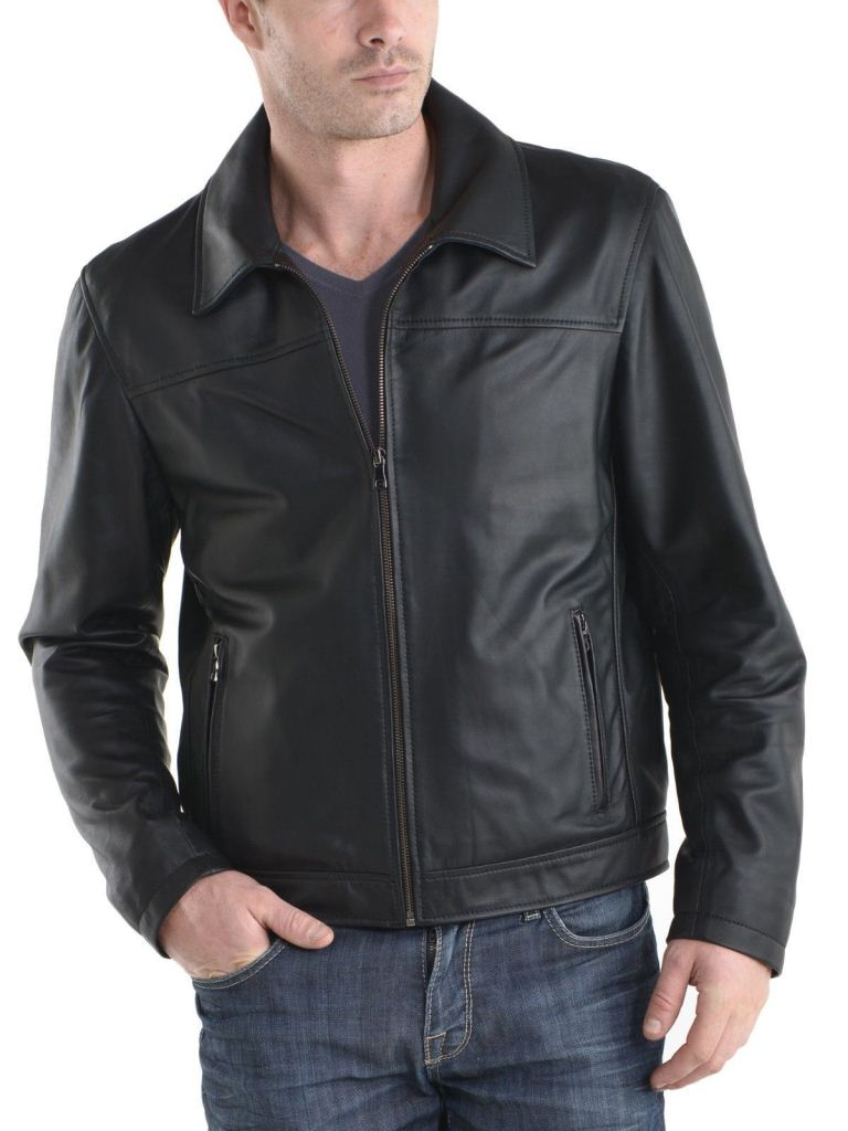 men's casual black leather jacket with collar - Noora International