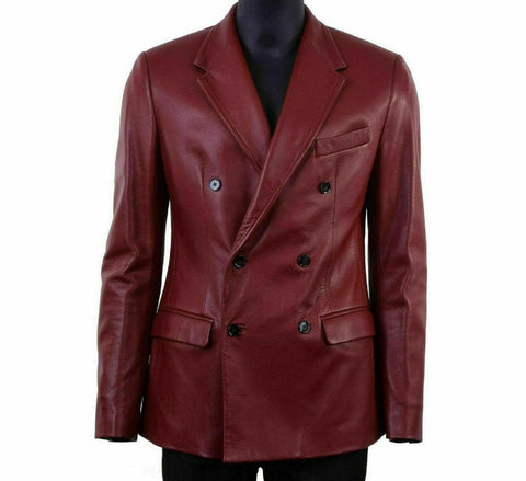Noora New Mens Real Lambskin Leather Blazer Red Coat Classic Comfort Leather Double Breasted Red Coat SJ338