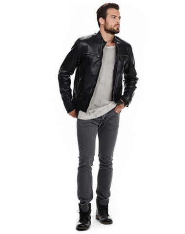 Men's black leather jacket with front pockets - Noora International