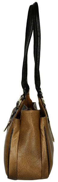 Women's light brown leather handbag