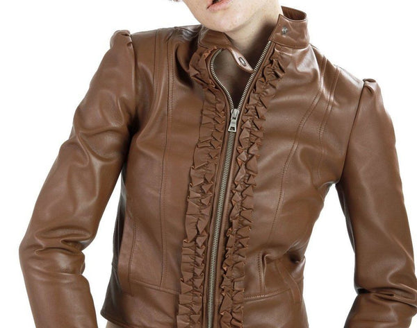 women's brown leather jacket with ruffles