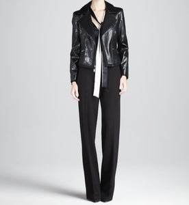 women's black leather blazer with notched colours